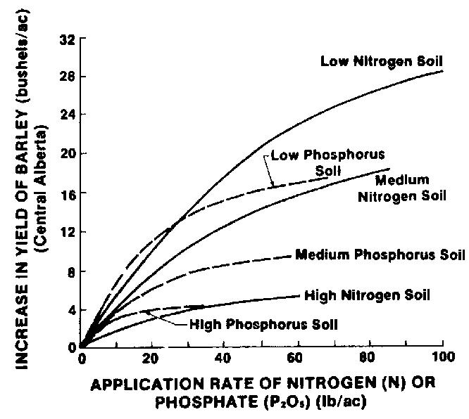 Figure 1. Response comparison to nitrogen and phosphorous on barley.