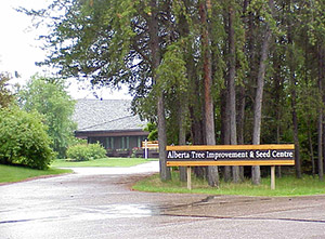 Picture of Alberta Tree Improvement and Seed Centre (ATISC) building and sign